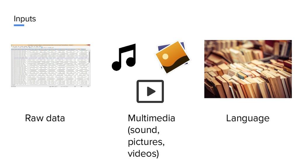 Inputs Raw data Multimedia (sound, pictures, vi...