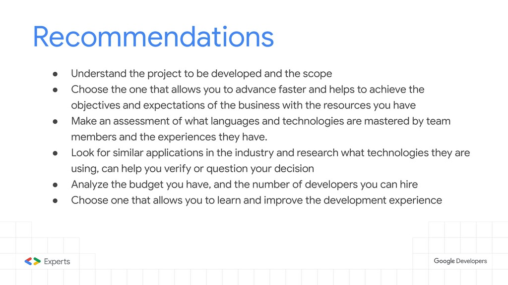 Recommendations ● Understand the project to be ...