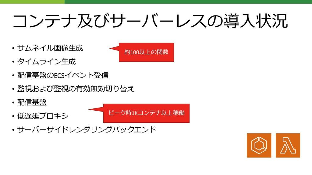 コンテナ及びサーバーレスの導⼊状況 • サムネイル画像⽣成 • タイムライン⽣成 • 配信基盤...