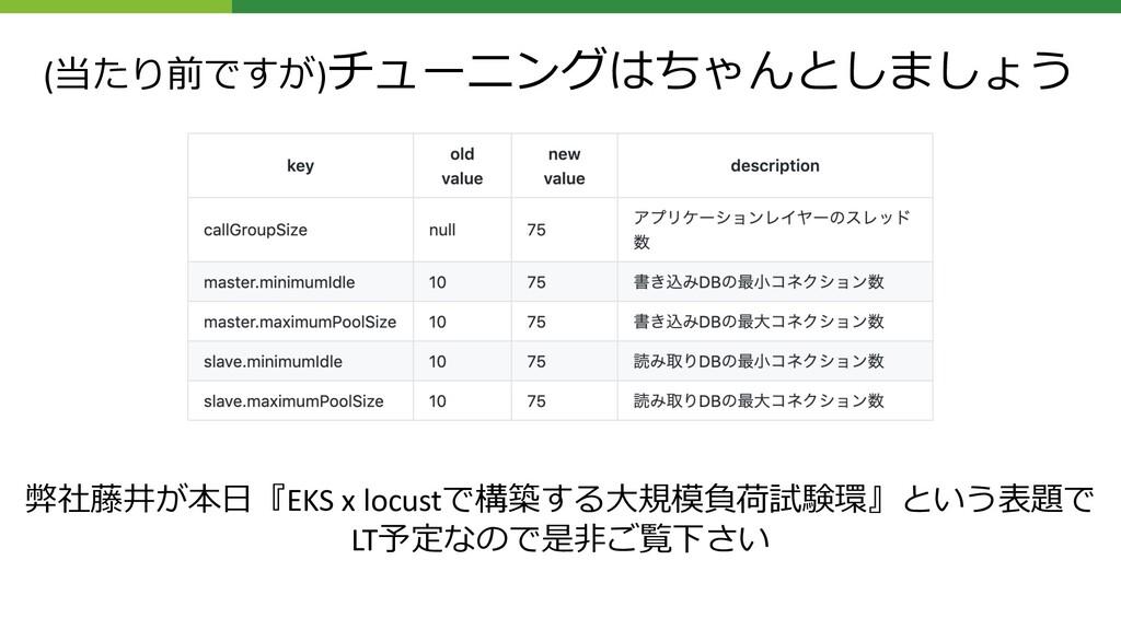 (当たり前ですが)チューニングはちゃんとしましょう 弊社藤井が本⽇『EKS x locustで...
