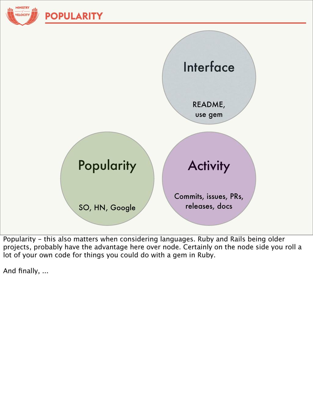 of Popularity SO, HN, Google Interface README, ...