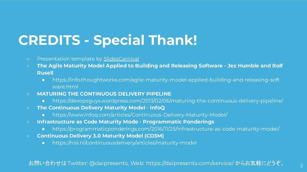 2 CREDITS - Special Thank! ○ Presentation templ...