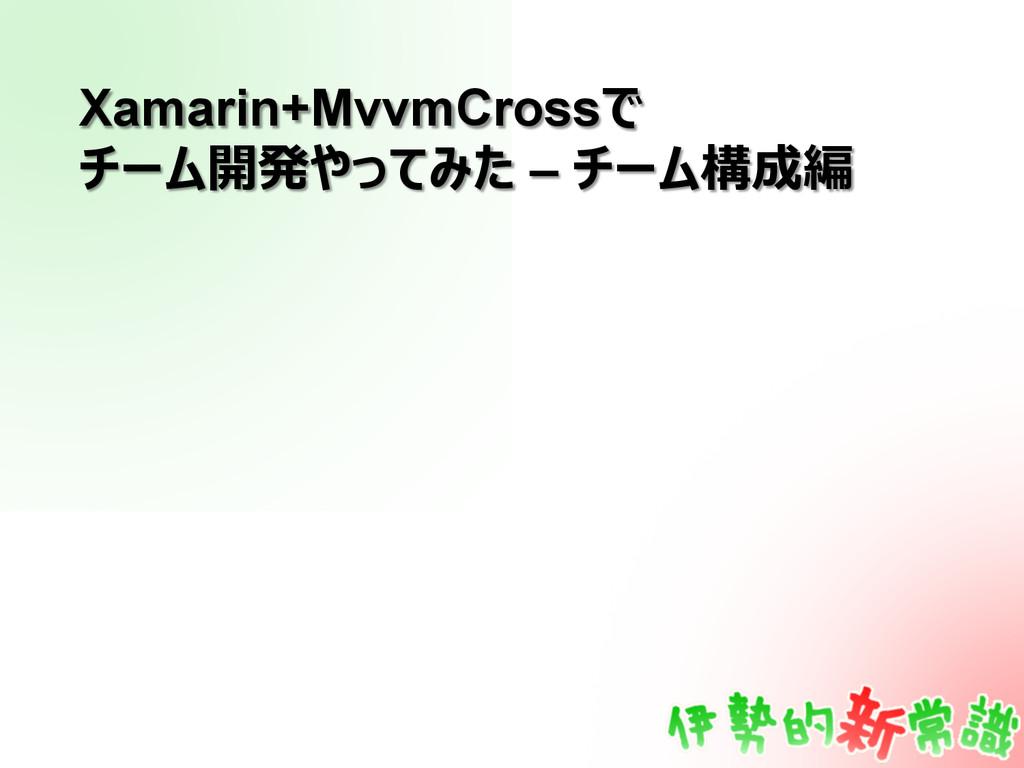 Xamarin+MvvmCrossで チーム開発やってみた – チーム構成編