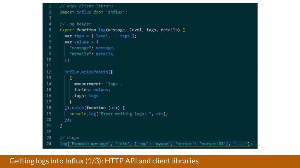 Getting logs into Influx (1/3): HTTP API and cli...