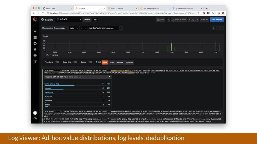 Log viewer: Ad-hoc value distributions, log lev...