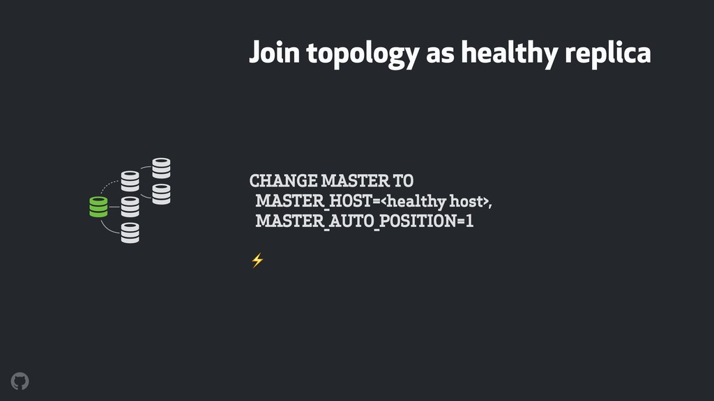 Join topology as healthy replica CHANGE MASTER ...