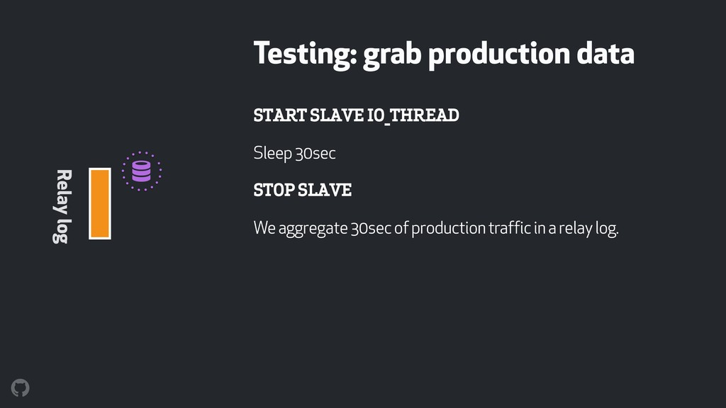 START SLAVE IO_THREAD Sleep 30sec STOP SLAVE We...