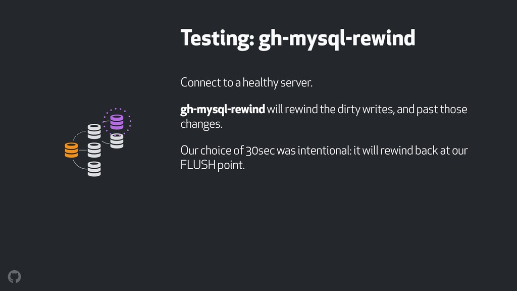 Testing: gh-mysql-rewind Connect to a healthy s...