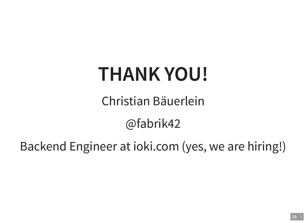 THANK YOU! THANK YOU! Christian Bäuerlein @fabr...