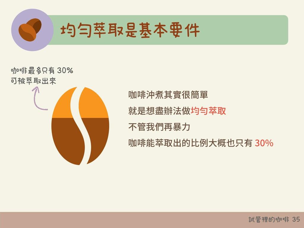 試管裡的咖啡 35 均勻萃取是基本要件 咖啡沖煮其實很簡單 就是想盡辦法做均勻萃取 不管我們再...