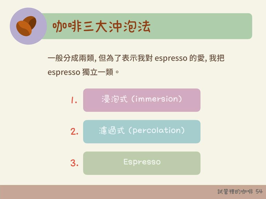 試管裡的咖啡 54 咖啡三大沖泡法 ⼀般分成兩類, 但為了表⽰我對 espresso 的愛, ...