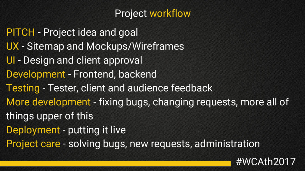 #WCAth2017 Project workflow PITCH - Project ide...