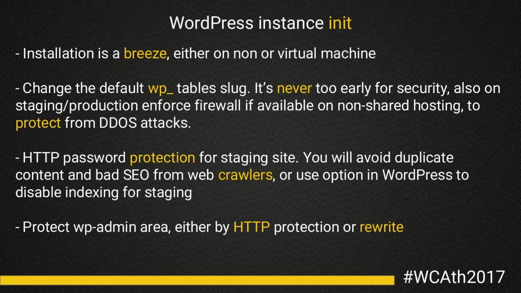 #WCAth2017 WordPress instance init - Installati...