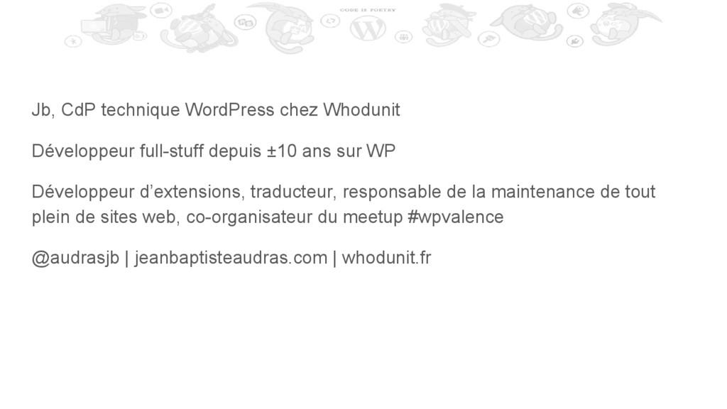 Jb, CdP technique WordPress chez Whodunit Dével...