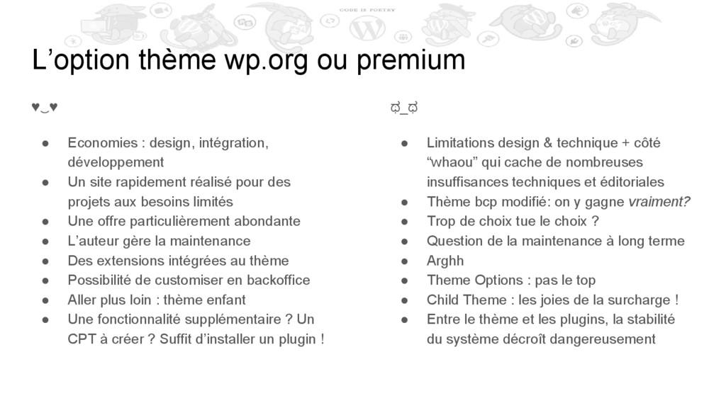 L'option thème wp.org ou premium ♥‿♥ ● Economie...