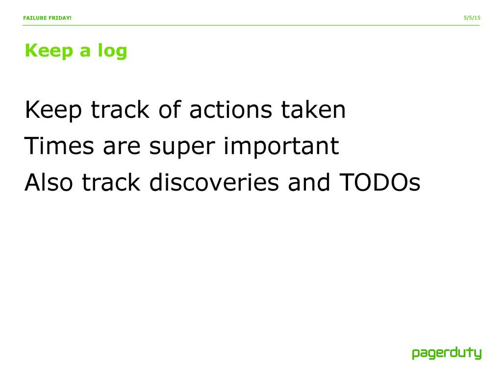 5/5/15 Keep a log FAILURE FRIDAY! Keep track of...