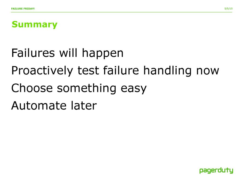 5/5/15 Summary FAILURE FRIDAY! Failures will ha...