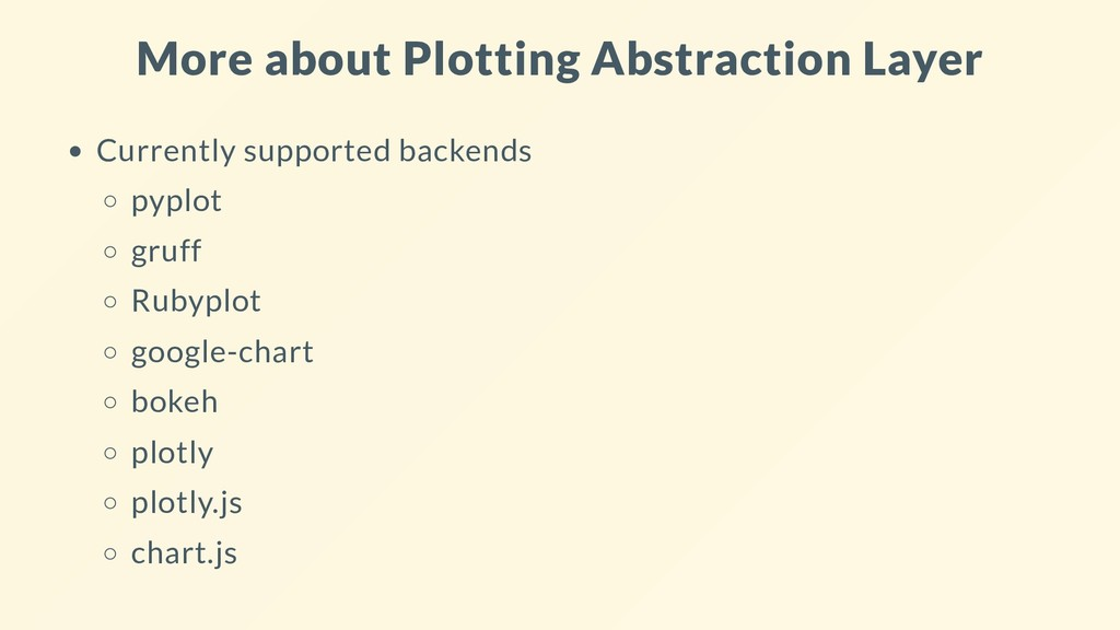 More about Plotting Abstraction Layer Currently...