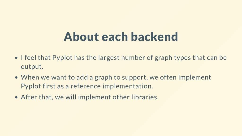 About each backend I feel that Pyplot has the l...