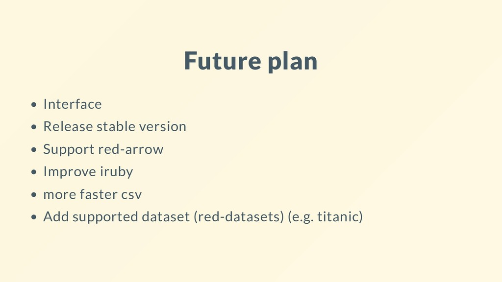 Future plan Interface Release stable version Su...