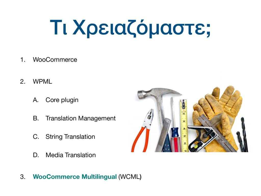 Τι Χρειαζόμαστε; 1. WooCommerce 2. WPML  A. Cor...