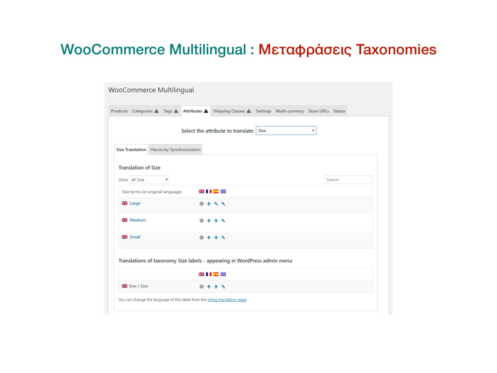 WooCommerce Multilingual : Μεταφράσεις Taxonomi...