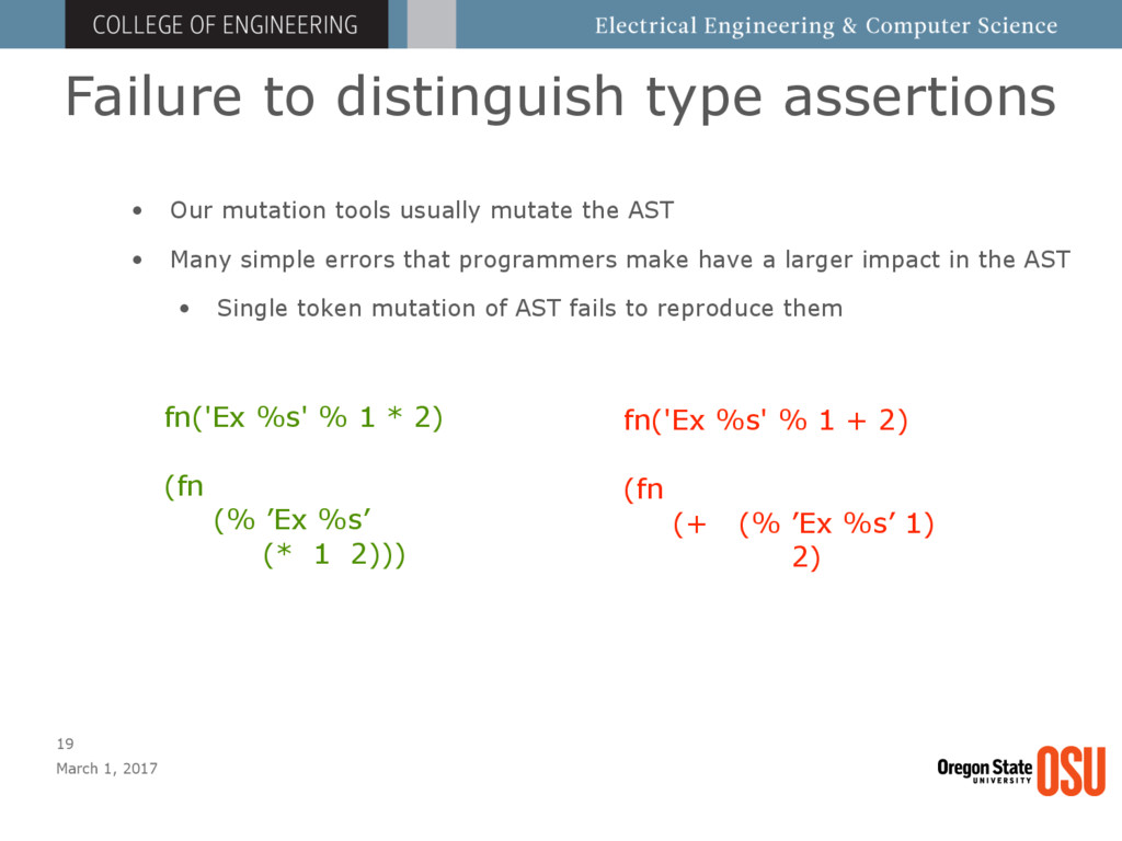 Failure to distinguish type assertions March 1,...