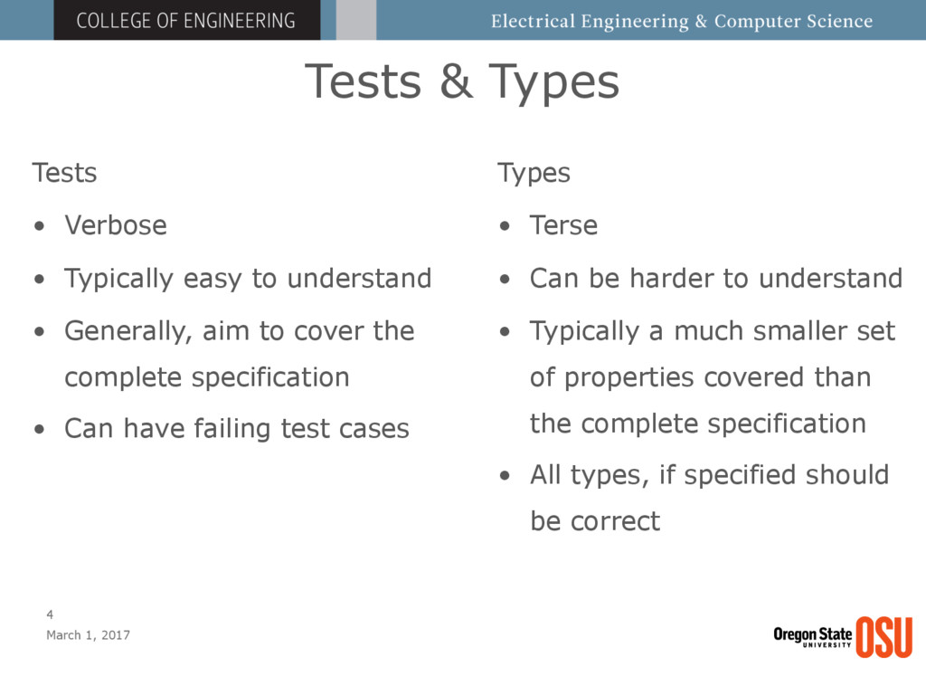 Tests & Types March 1, 2017 4 Tests • Verbose •...