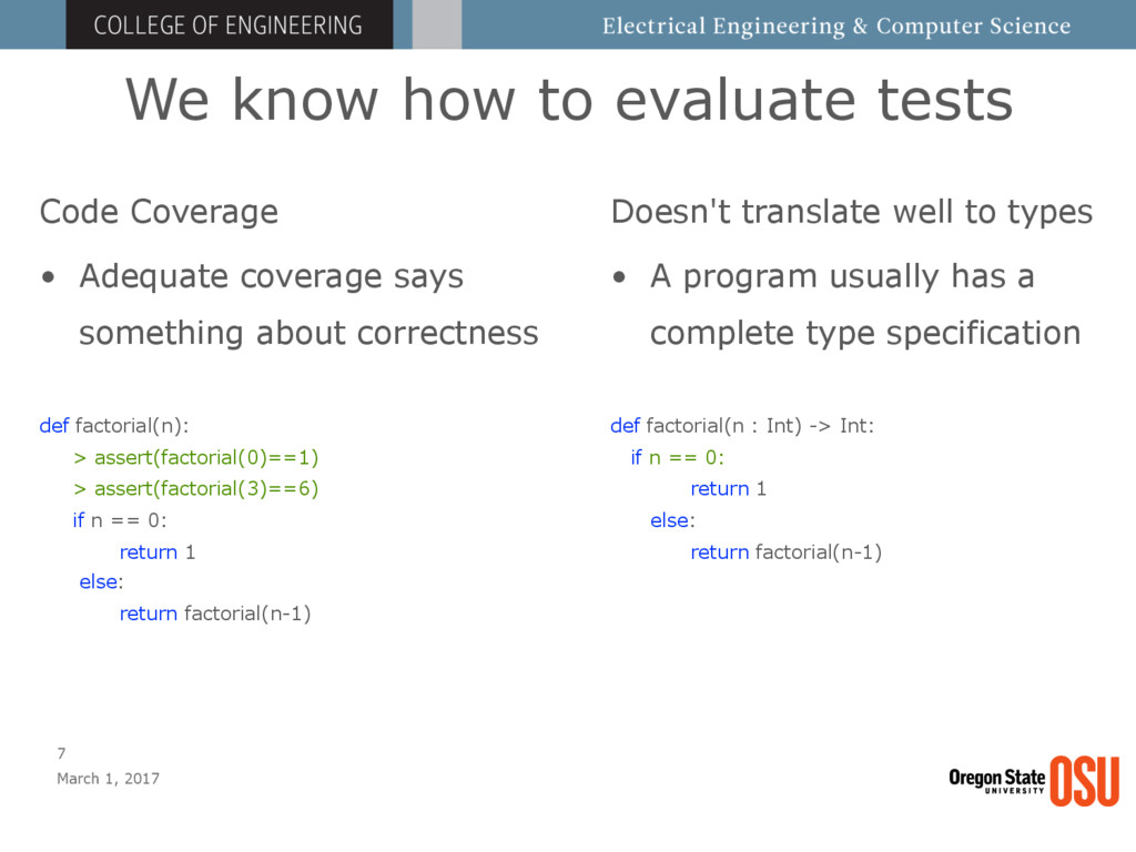 We know how to evaluate tests March 1, 2017 7 C...