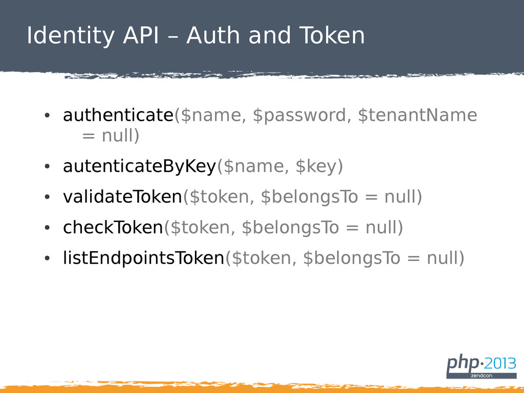 Identity API – Auth and Token ● authenticate($n...