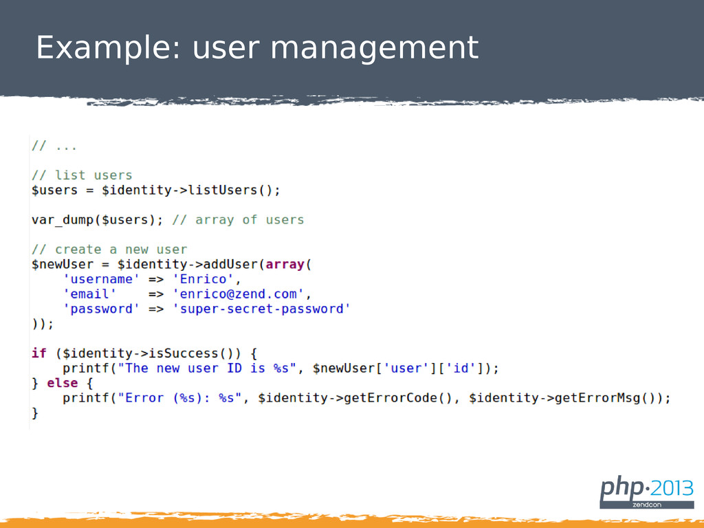 Example: user management