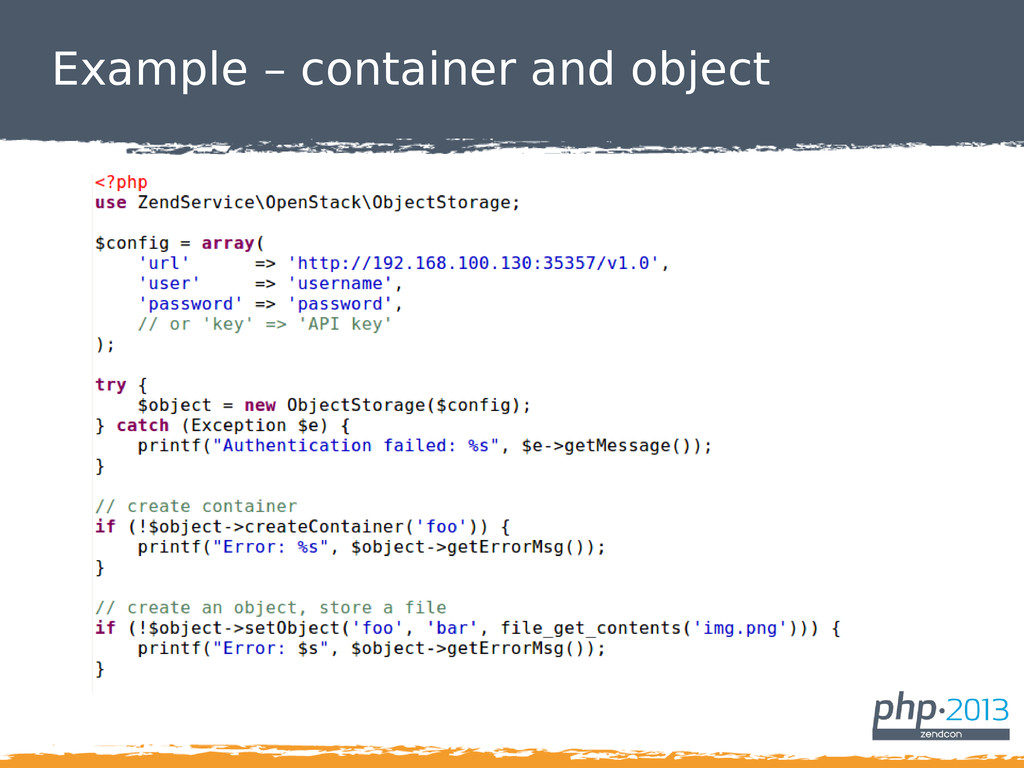 Example – container and object