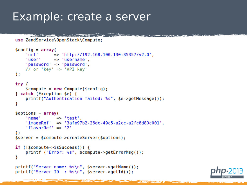 Example: create a server