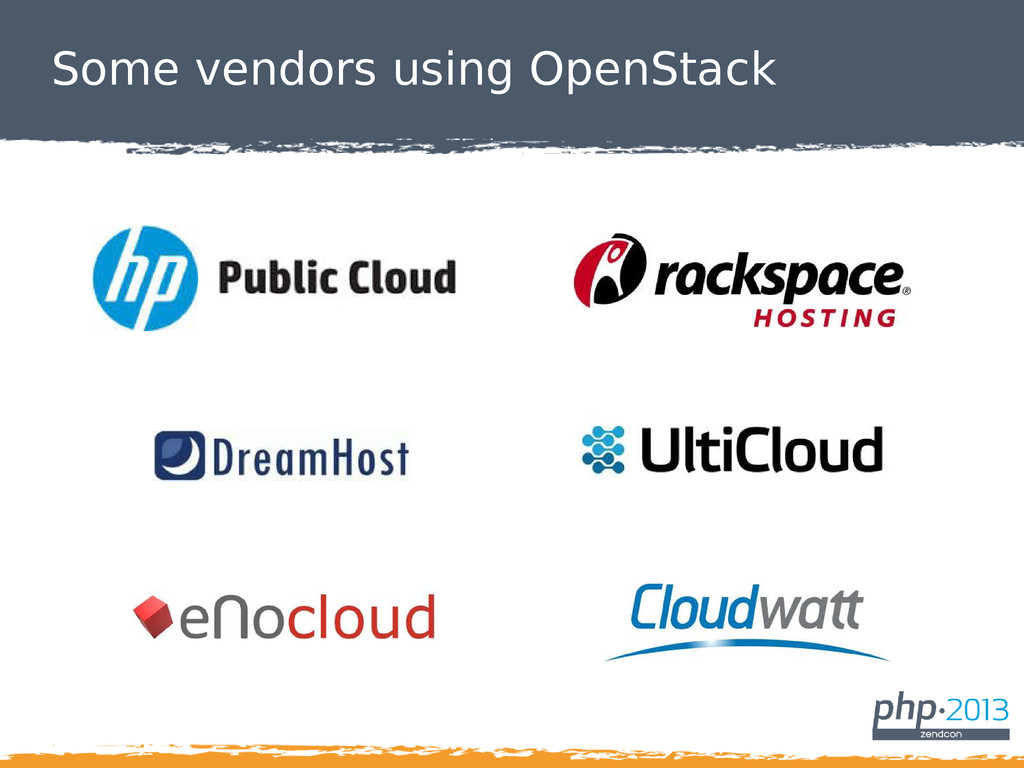 Some vendors using OpenStack