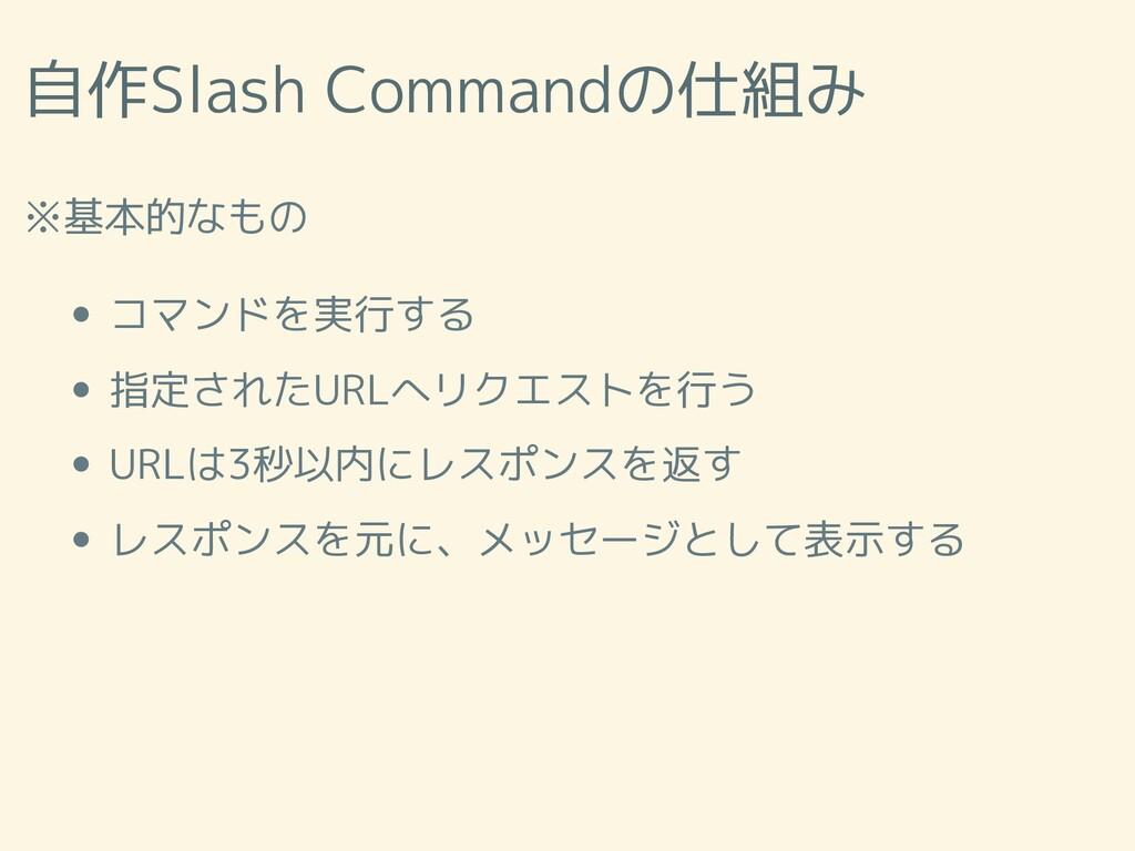 自作Slash Commandの仕組み ※基本的なもの コマンドを実行する 指定されたURLへ...