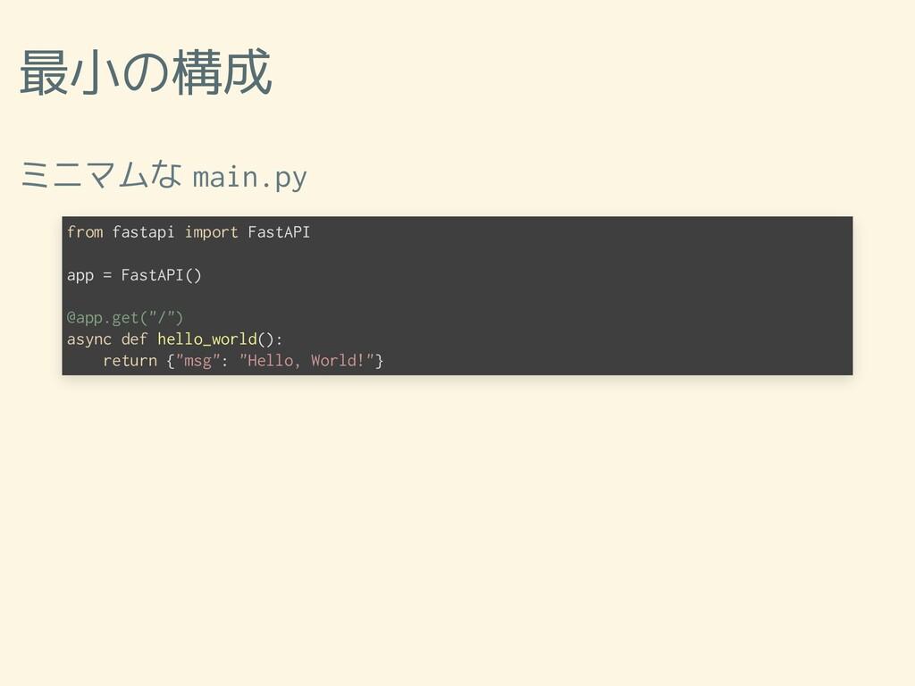 最小の構成 ミニマムな main.py from fastapi import FastAPI...