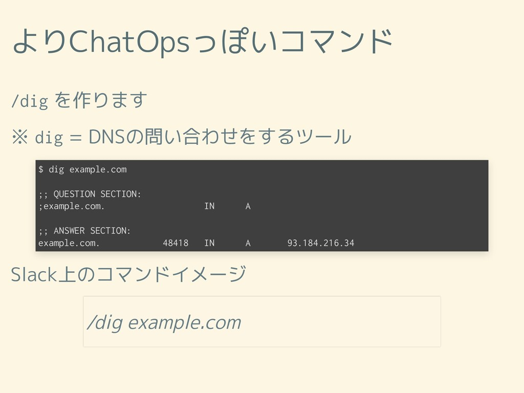 よりChatOpsっぽいコマンド /dig を作ります ※ dig = DNSの問い合わせをす...