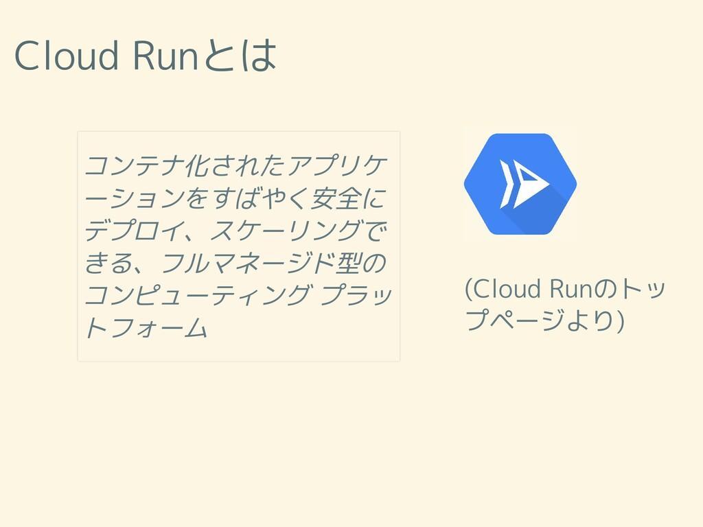 Cloud Runとは (Cloud Runのトッ プページより) コンテナ化されたアプリケ ...