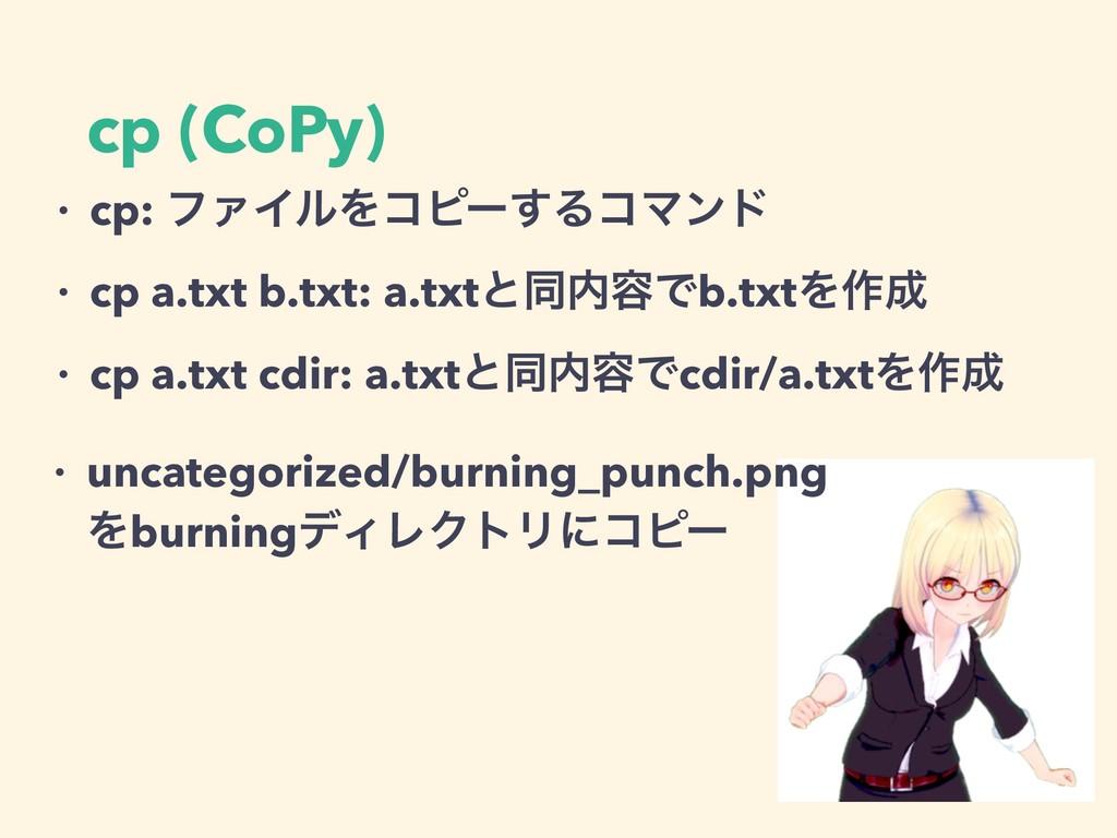 cp (CoPy) ɾ cp: ϑΝΠϧΛίϐʔ͢ΔίϚϯυ ɾ cp a.txt b.txt...