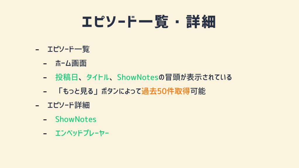エピソード一覧・詳細 - エピソード一覧 - ホーム画面 - 投稿日、タイトル、ShowNot...