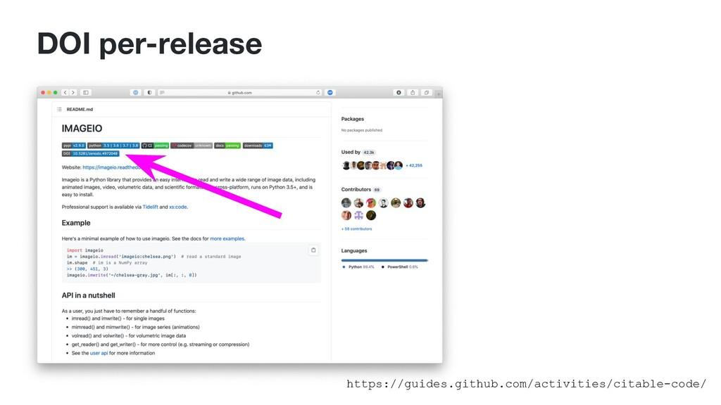 DOI per-release https://guides.github.com/activ...