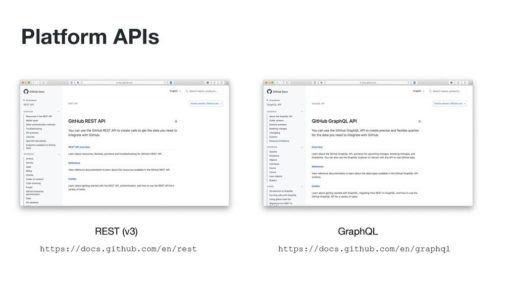 Platform APIs REST (v3) GraphQL https://docs.gi...