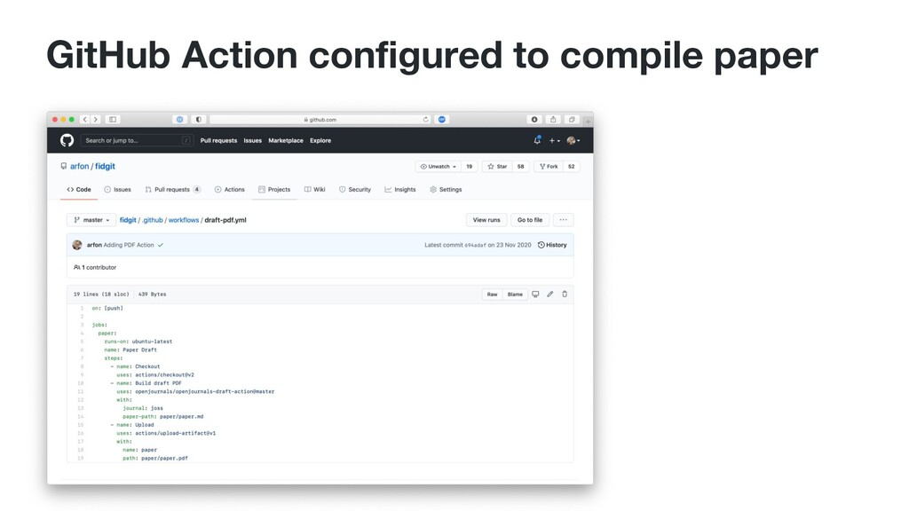 GitHub Action configured to compile paper