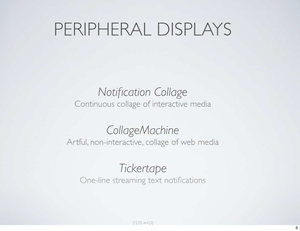 PERIPHERAL DISPLAYS Notification Collage Continu...
