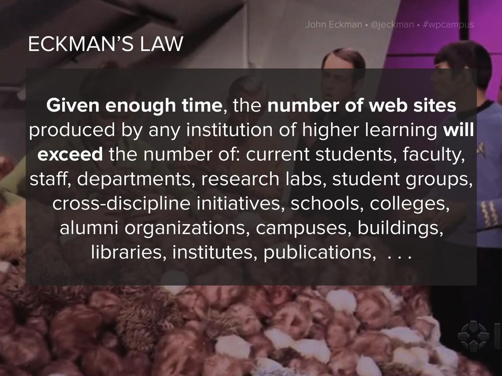 John Eckman • @jeckman • #wpcampus ECKMAN'S LAW...