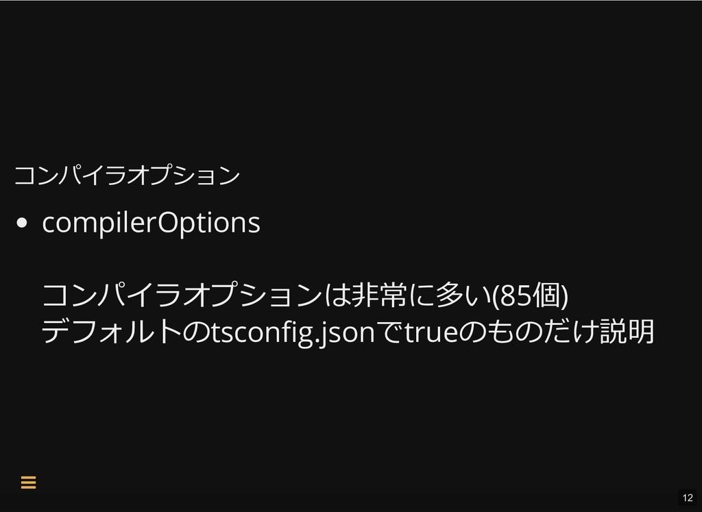 コンパイラオプション コンパイラオプション compilerOptions コンパイラオプショ...