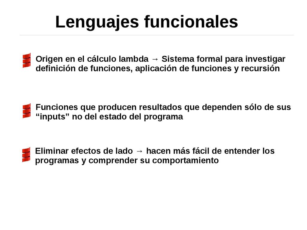 Lenguajes funcionales Origen en el cálculo lamb...