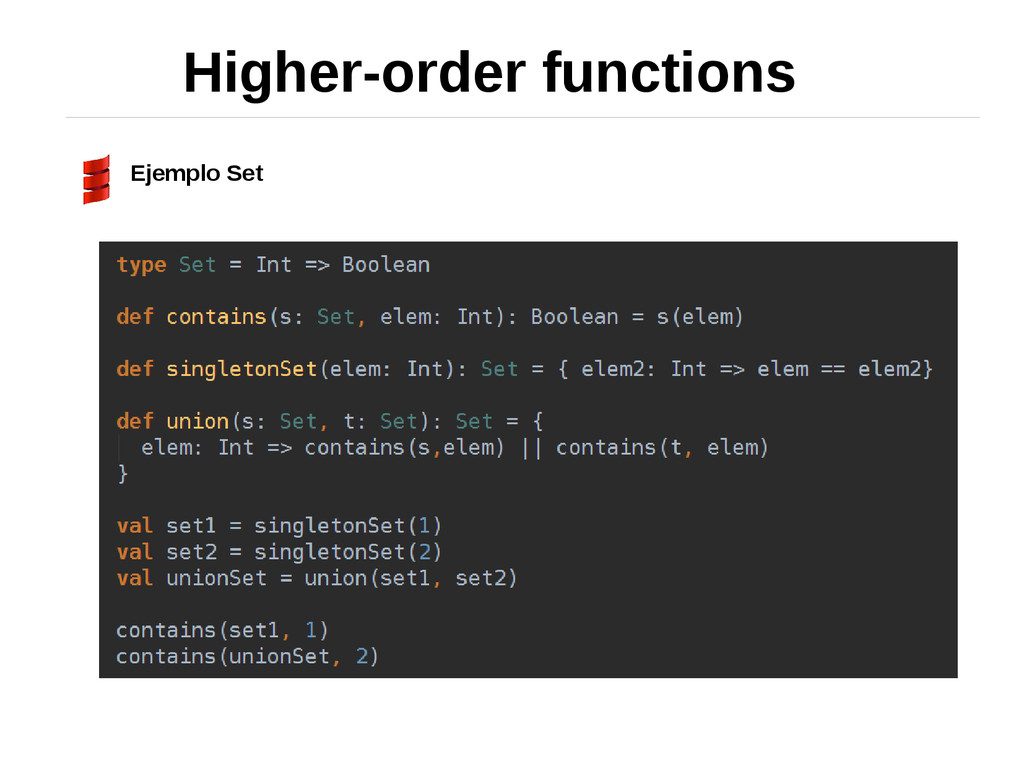 Higher-order functions Ejemplo Set