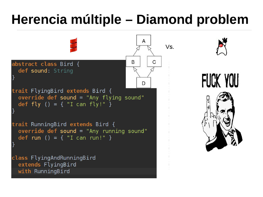 Herencia múltiple – Diamond problem Vs.