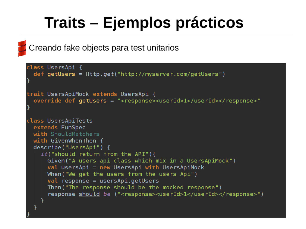 Traits – Ejemplos prácticos Creando fake object...